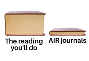 "A meme showing a thick book with ""the reading you'll do"" and a thin book with ""AIR journals"""