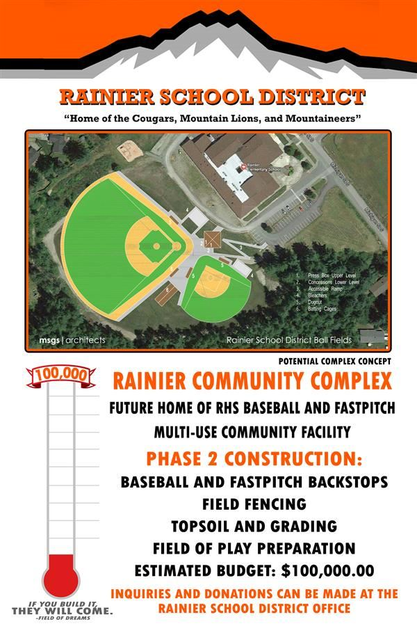 Rainier Community baseball and fastpitch complex fundraiser. Inquire and make donations at the School District Office
