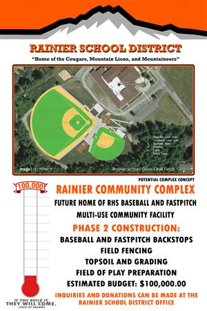 Help us raise money for the new Rainier Community Complex that will be the future home of RHS baseball and fastpitch