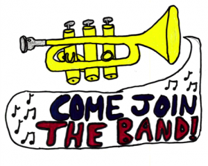 Trumpet with text come join the band